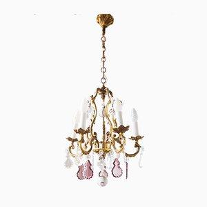 Lámpara de araña francesa antigua de bronce con cinco brazos
