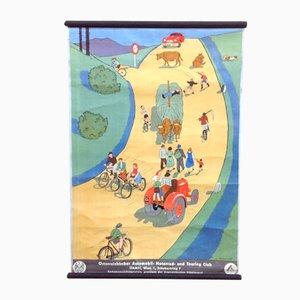 Verkehrsunterricht Poster mit Oldtimer