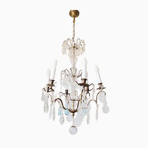 Antique French Chandelier with Blue Crystal Drops