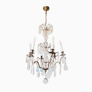 Lámpara de araña francesa antigua con gotas de cristal azul