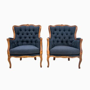 Antique French Wingback Armchairs, 1920s, Set of 2