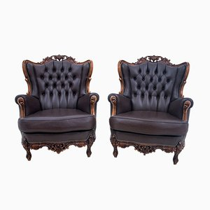 Antique French Leather Wingback Armchairs, 1950s, Set of 2