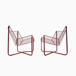 Rote Metalldraht Jarpen Stühle von Niels Gammelgaard für Ikea, 1983, 2er Set
