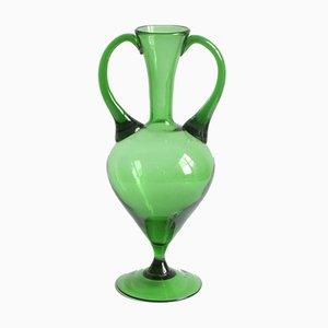Empoli Verde Glass Etruscan Amphora Vase, Tuscany 1940s