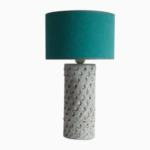 White Ceramic Cylinder Table Lamp with Teardrop Pattern from Fratelli Fianciullacci, Italy, 1960s