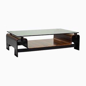 Mesa de centro vintage de madera y vidrio, años 50