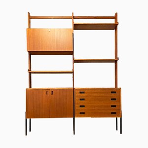 Mid-Century Italian Modern Teak Self-Supporting Bookcase with Cabinet, 1960s