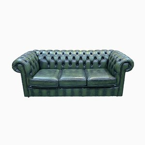 3-Seater Chesterfield Sofa in Green Leather, 1970s