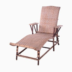 Spanish Bamboo and Wicker Folding Lounge Chair, 1960s