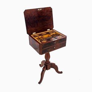 Antique Walnut Thread Table, Western Europe, 1890s