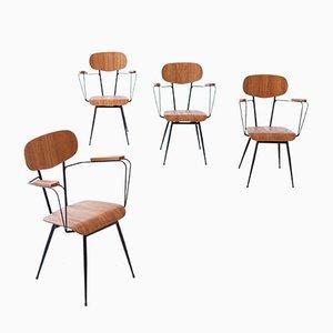 Italienische Esszimmerstühle aus Eisen & Teak, 1950er, 4er Set