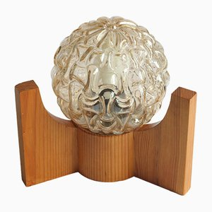 Space Age Tischlampe aus Glas & Holz, 1970er