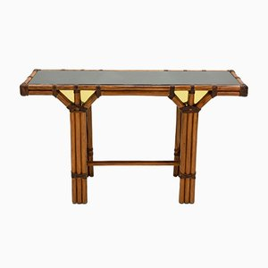 Bamboo, Brass and Opal Glass Console Table, 1970s