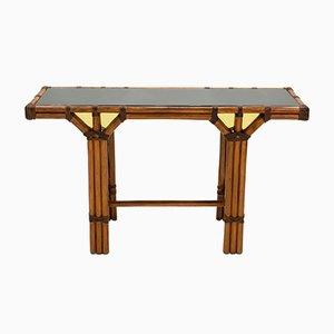 Consola de bambú, latón y vidrio opalino, años 70