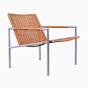 Sz 01 Rattan and Chrome Lounge Chair by Martin Visser for 't Spectrum, 1960s