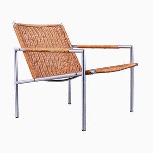 Sz 01 Sessel aus Rattan & Chrom von Martin Visser für 't Spectrum, 1960er