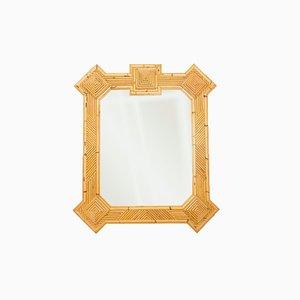 Espejo de bambú y ratán de Maurizio Mariani para Vivai Del Sud Roma, años 70