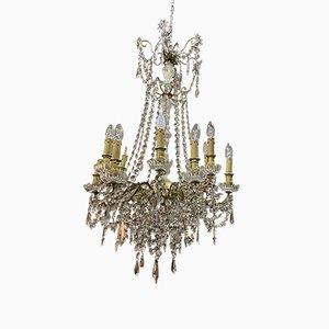Lámpara de araña con 12 ramas de bronce y cristal de Baccarat