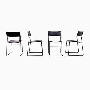 Italian Black Leather Stackable Chairs from Arrben, 1980s, Set of 4