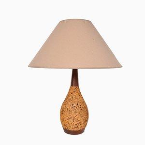 Lámpara de mesa de corcho y tela, años 70