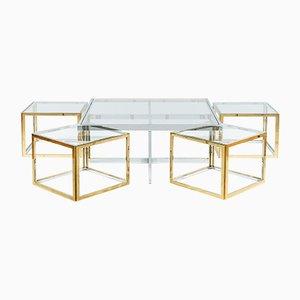 Quadratische Couchtische aus Glas, Messing & Stahl von Maison Charles, 1970er, 5er Set