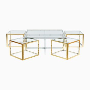 Square Glass, Brass & Steel Coffee Tables from Maison Charles, 1970s, Set of 5