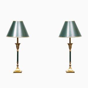 Messing Tischlampen, 1970er, Frankreich, 2er Set