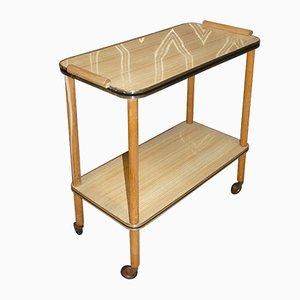 Narrow Light Wood Effect Formica Bar Cart, 1960s