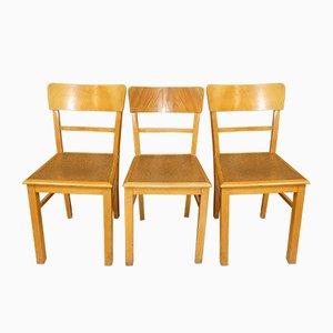 Vintage Frankfurt Style Kitchen Chairs in Wood & Cork, Set of 3
