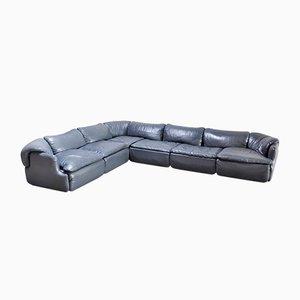 Leather Confidential Corner Sofa by Alberto Rosselli for Saporiti, Italy, 1970s