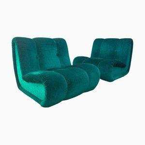Modular Armchairs in Green Velvet, 1970s, Set of 2