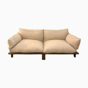 2-Sitzer Sofa aus Walnuss und Jute von Saporiti Italia, 1980er