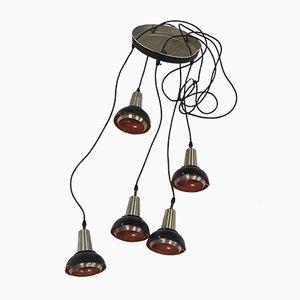 Vintage Orange Steel Pendant with 5 Adjustable Shades