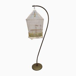 cage a oiseaux suspendue pied col de cygne métal doré vintage 1960