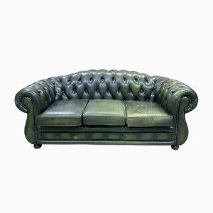 Englisches 3-Sitzer Chesterfield Sofa aus grünem Leder, 1970er