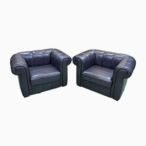 English Leather Chairs, 1980s, Set of 2