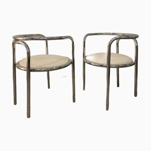 Locus Solus Chairs in Chromed Metal and Vinyl by Gae Aulenti for Poltronova, Set of 2