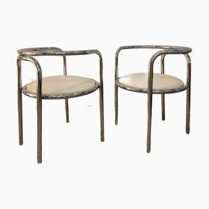 Locus Solus Stühle aus Verchromtem Metall und Vinyl von Gae Aulenti für Poltronova, 2er Set