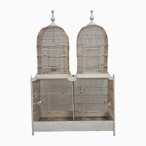 Jaula doble grande rectangular de madera y metal blanco, años 10