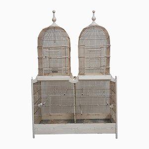 Large Rectangular Wood & White Metal Double Bird Cage, 1910s