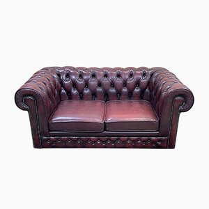 English 2-Seater Leather Chesterfield Sofa, 1970s