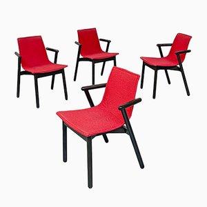 Moderne italienische Mid-Century Villablanca Stühle in Rot & Schwarz von V. Magistretti für Cassina, 1985, 8er Set
