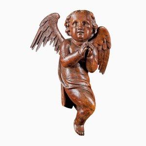 Flemish School Religious Late Baroque Angel Sculpture in Oak, 18th Century