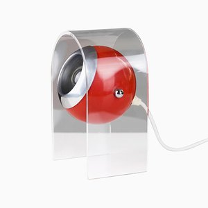 Space Age Restored Red Acrylic Eyeball Table Lamp, 1970s