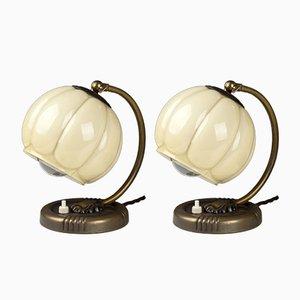 Restaurierte Vintage Französische Art Deco Nachttischlampen, 1940er, 2er Set