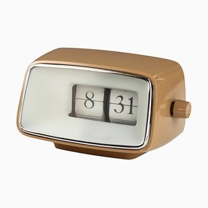 Cognacfarbene Caslon 201 24-Stunden Flip Uhr von Copal, 1960er