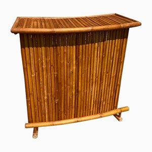 Barra de bar plegable vintage de bambú y ratán, años 60 o 70