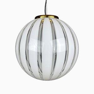 Mid-Century Murano Swirl Glass Pendant Lamp, Italy, 1970s