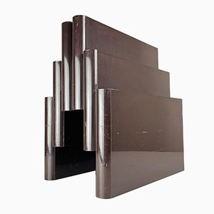 Model 4675 Brown Magazine Rack with 6 Compartments by Giotto Stoppino for Kartell, Italy, 1970s