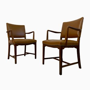 Mid-Century Danish Oak and Leather Armchairs, Set of 2